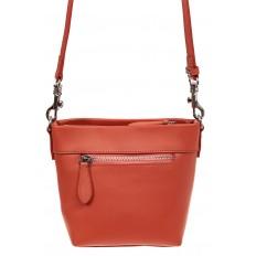 На фото 2 - Летняя сумка-ведро из натуральной кожи, цвет оранжевый