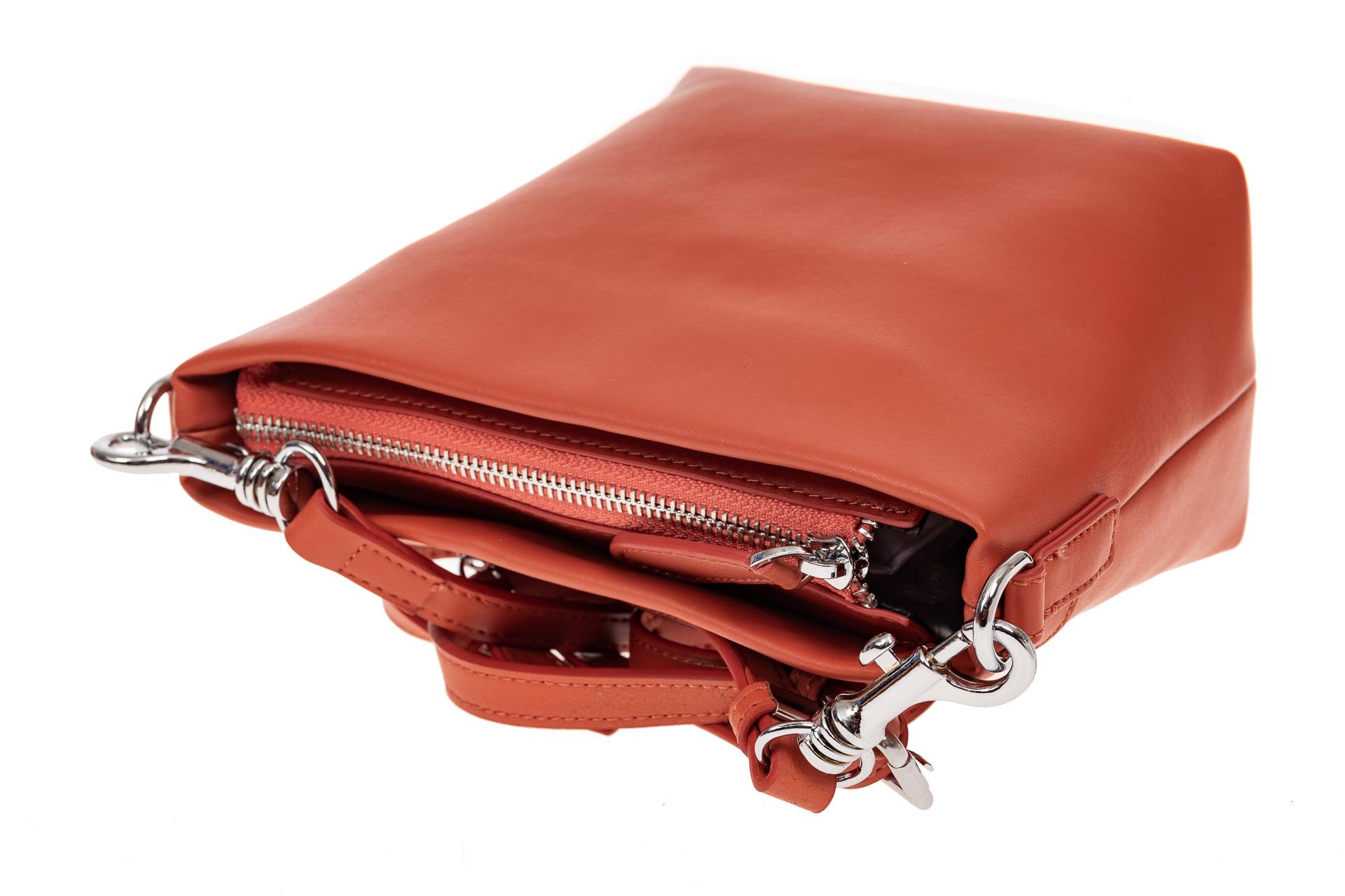 На фото 3 - Летняя сумка-ведро из натуральной кожи, цвет оранжевый