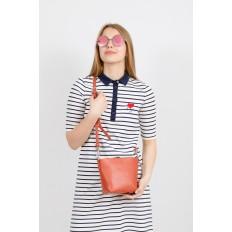На фото 4 - Летняя сумка-ведро из натуральной кожи, цвет оранжевый