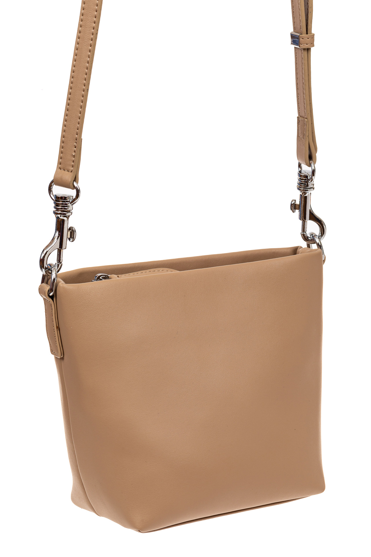 На фото 1 - Летняя сумка-ведро из натуральной кожи, цвет кофе с молоком