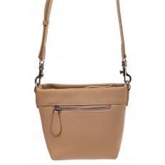 На фото 2 - Летняя сумка-ведро из натуральной кожи, цвет кофе с молоком