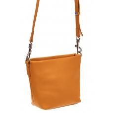 На фото 1 - Летняя сумка-ведро из натуральной кожи, цвет манго
