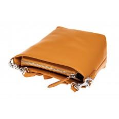 На фото 3 - Летняя сумка-ведро из натуральной кожи, цвет манго