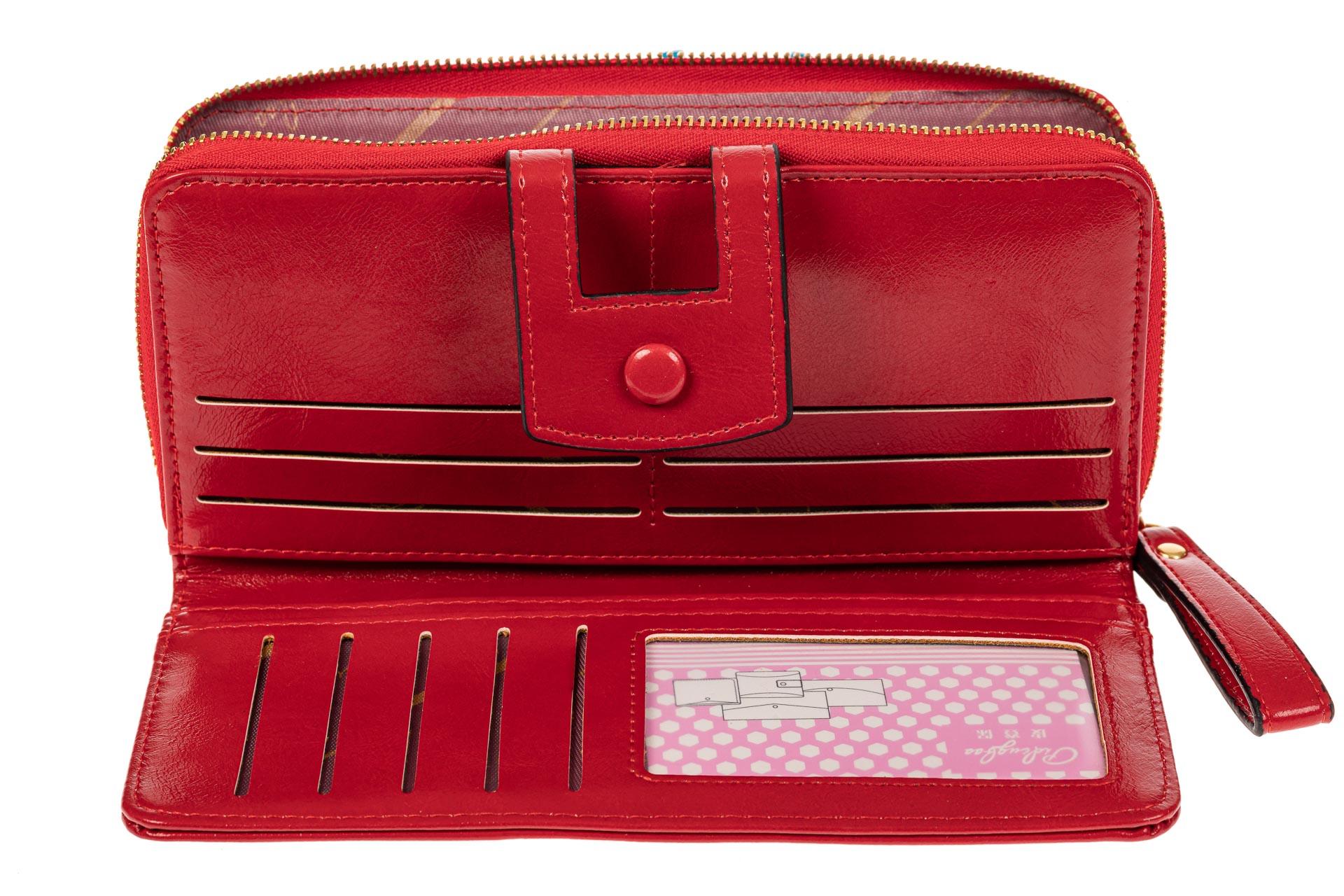 На фото 2 - Женский кошелек из искусственной кожи, цвет красный