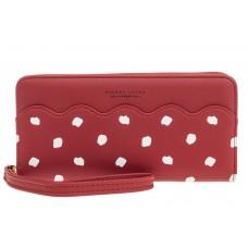 На фото 1 - Стильный кошелек женский из кожзама, бордовый