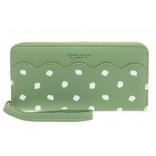 На фото 1 - Стильный кошелек женский из кожзама, зеленый
