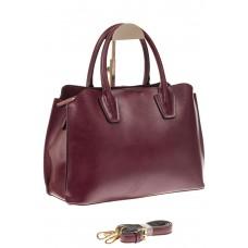 На фото 1 - Бордово-баклажановая женская сумка из натуральной кожи