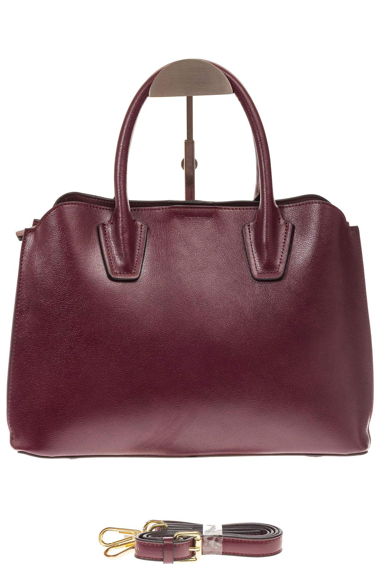 На фото 2 - Бордово-баклажановая женская сумка из натуральной кожи