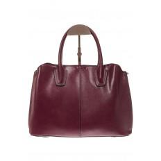 На фото 3 - Бордово-баклажановая женская сумка из натуральной кожи