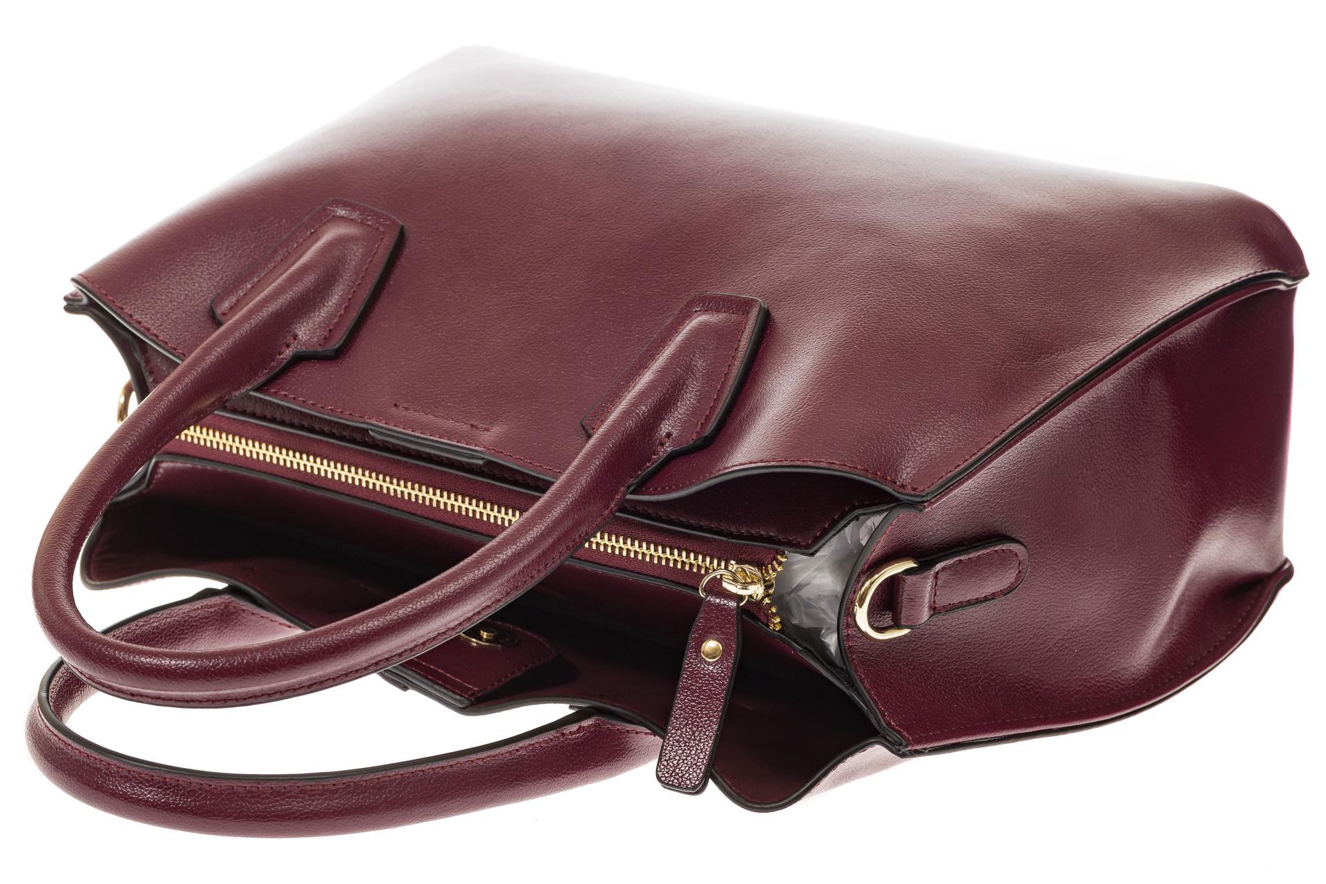 На фото 4 - Бордово-баклажановая женская сумка из натуральной кожи