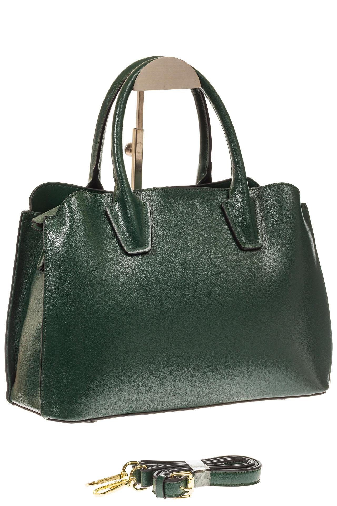 На фото 1 - Зеленая женская сумка из натуральной кожи
