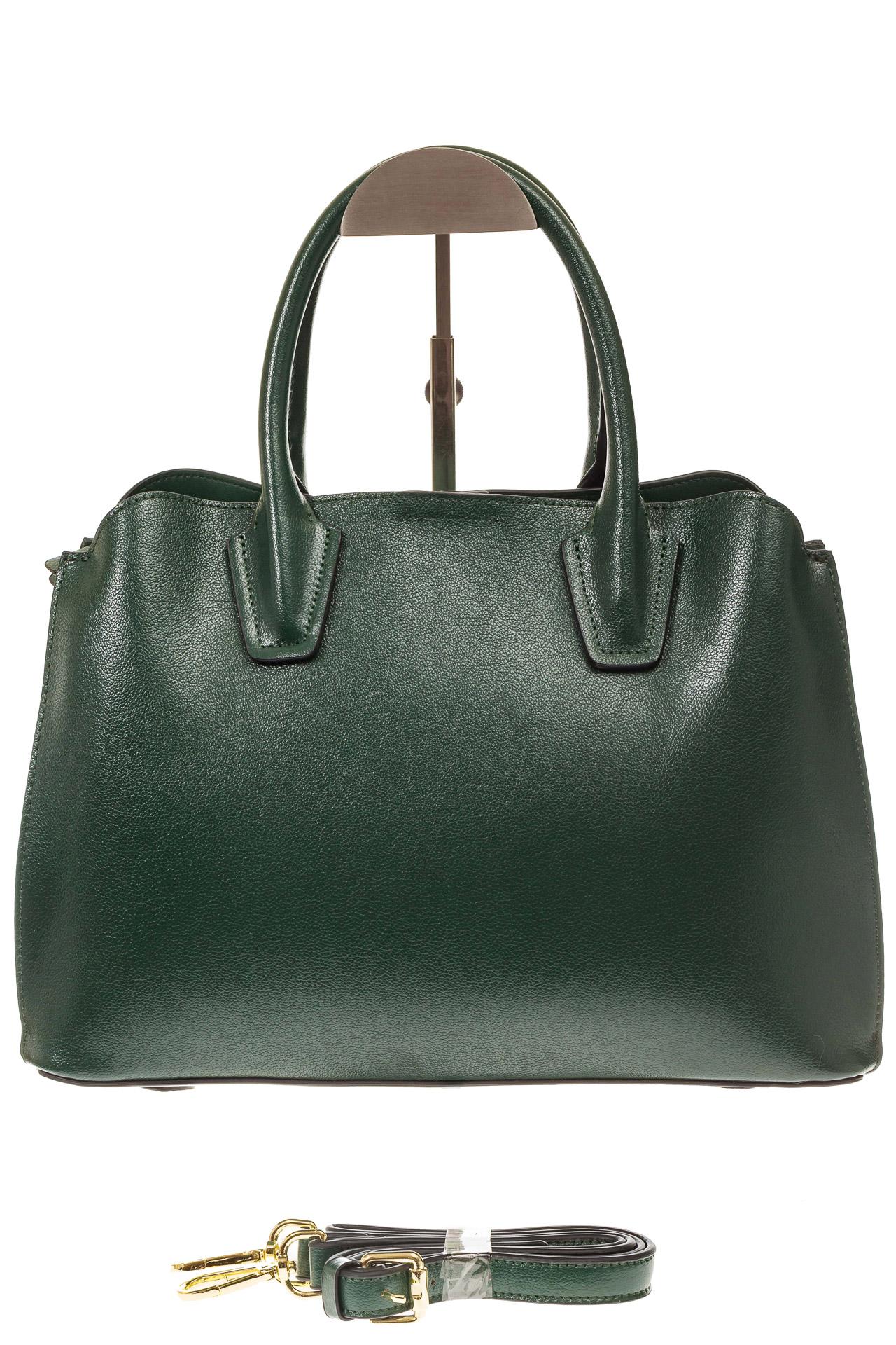 На фото 2 - Зеленая женская сумка из натуральной кожи
