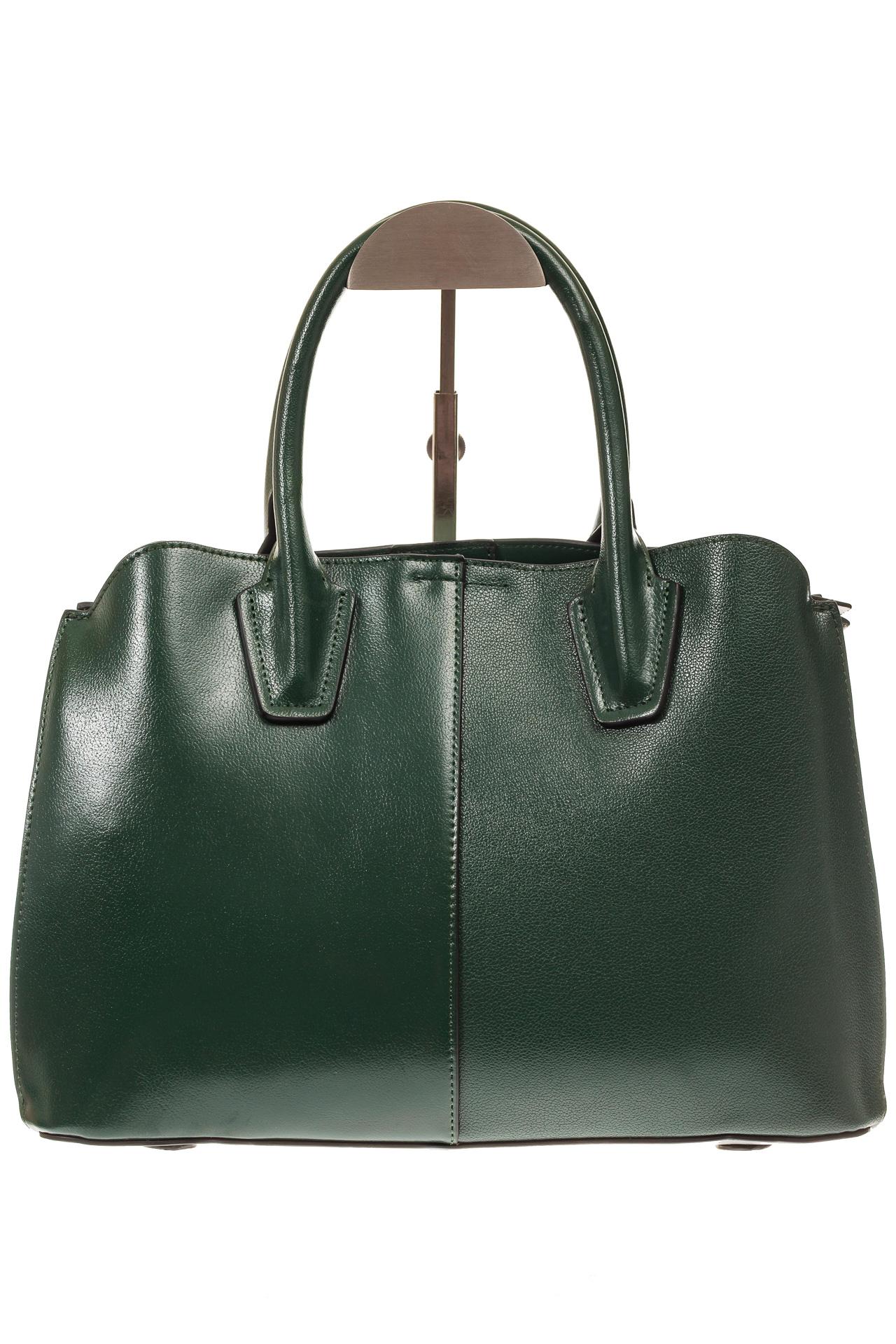 На фото 3 - Зеленая женская сумка из натуральной кожи