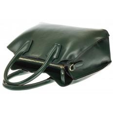 На фото 4 - Зеленая женская сумка из натуральной кожи