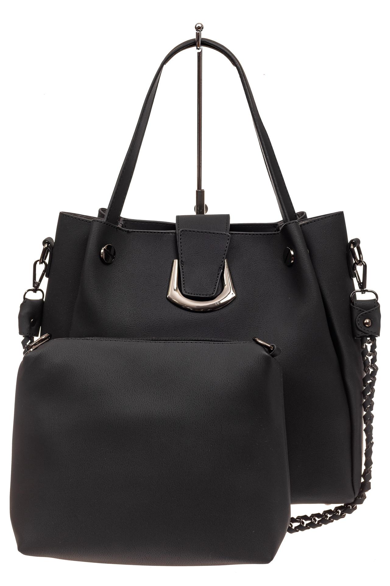 На фото 2 - Сумка-мешок женская из искусственной кожи, цвет черный
