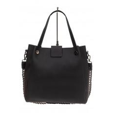 На фото 3 - Сумка-мешок женская из искусственной кожи, цвет черный