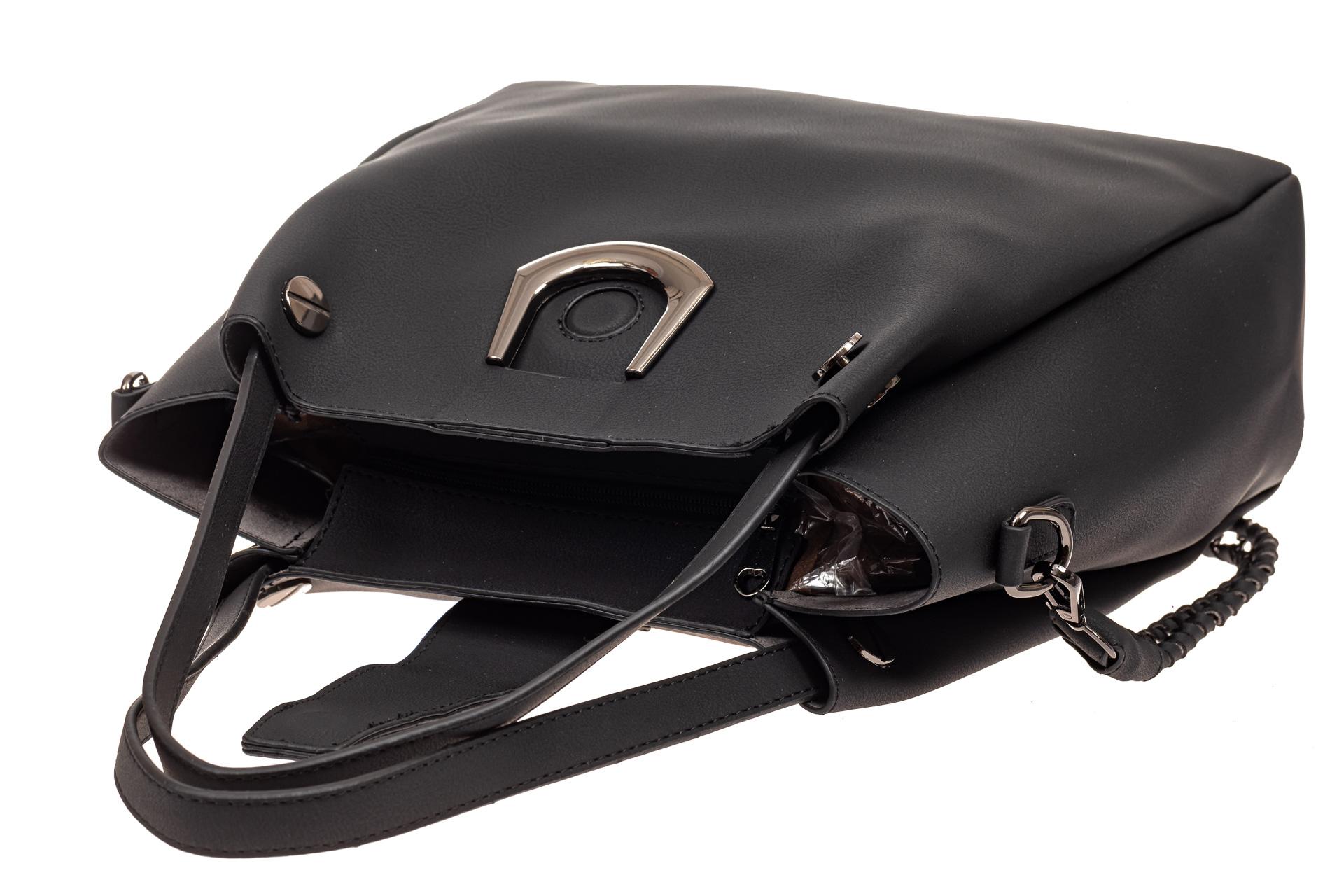 На фото 4 - Сумка-мешок женская из искусственной кожи, цвет черный