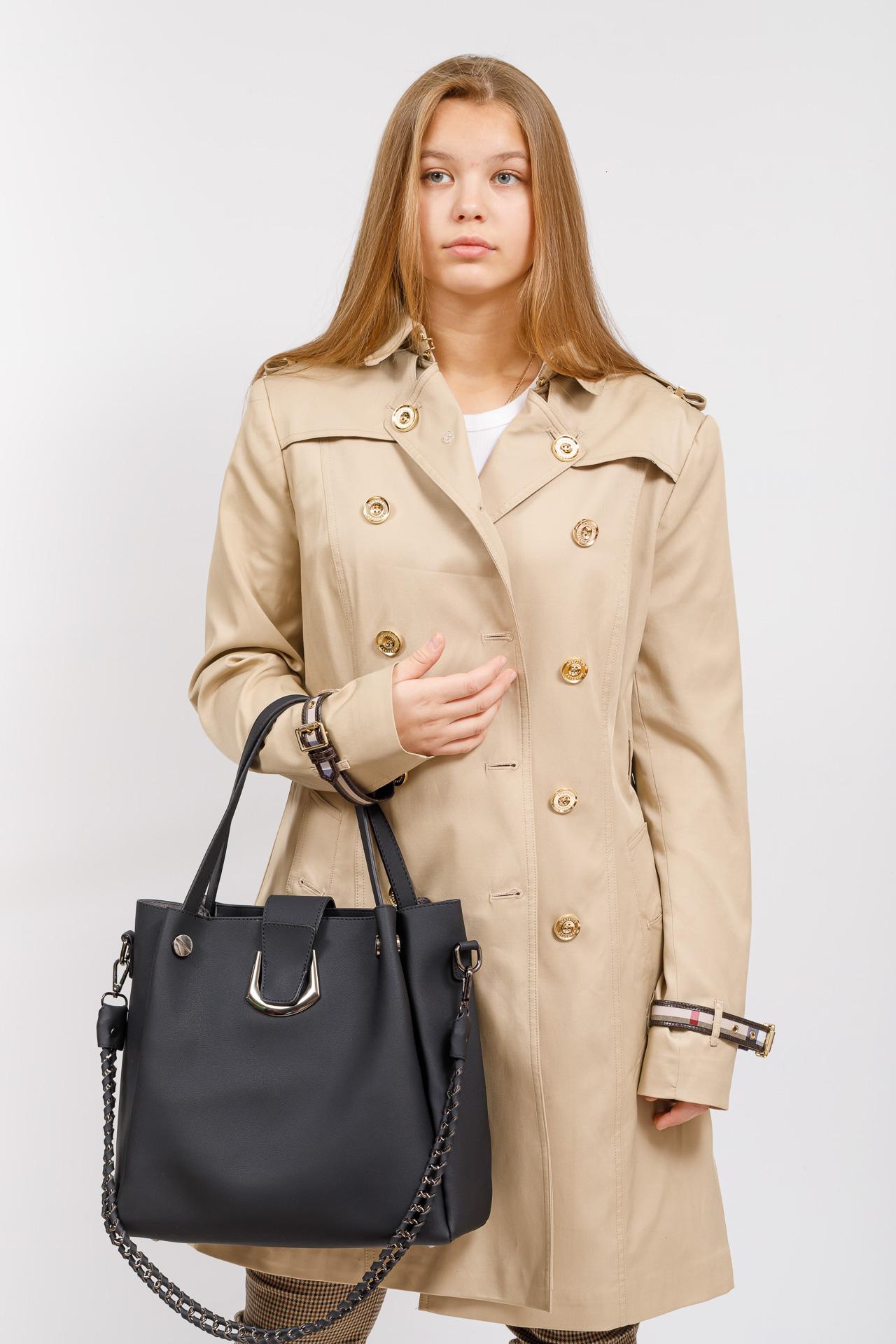 На фото 5 - Сумка-мешок женская из искусственной кожи, цвет черный