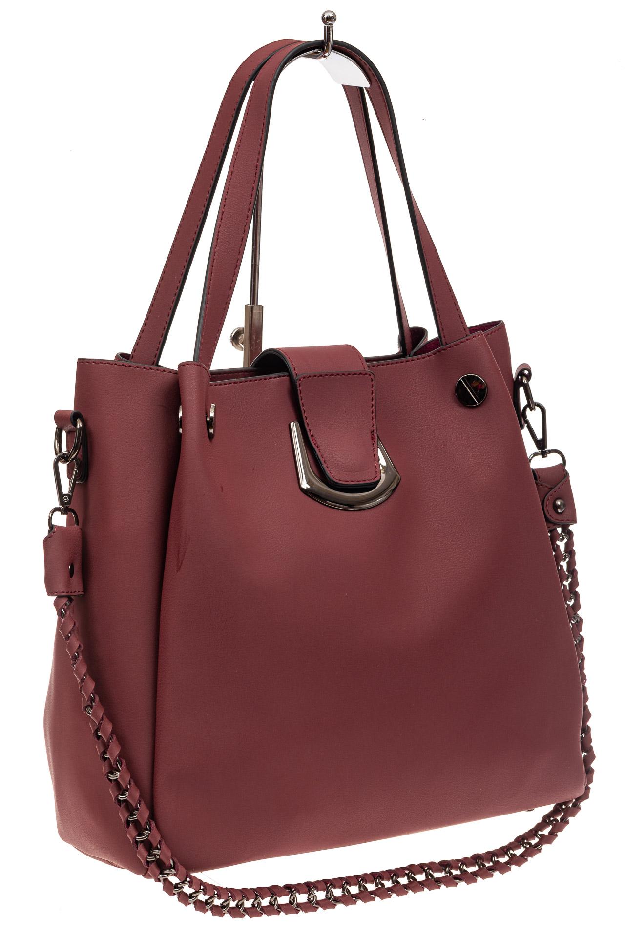 На фото 1 - Сумка-мешок женская из искусственной кожи, цвет бордо
