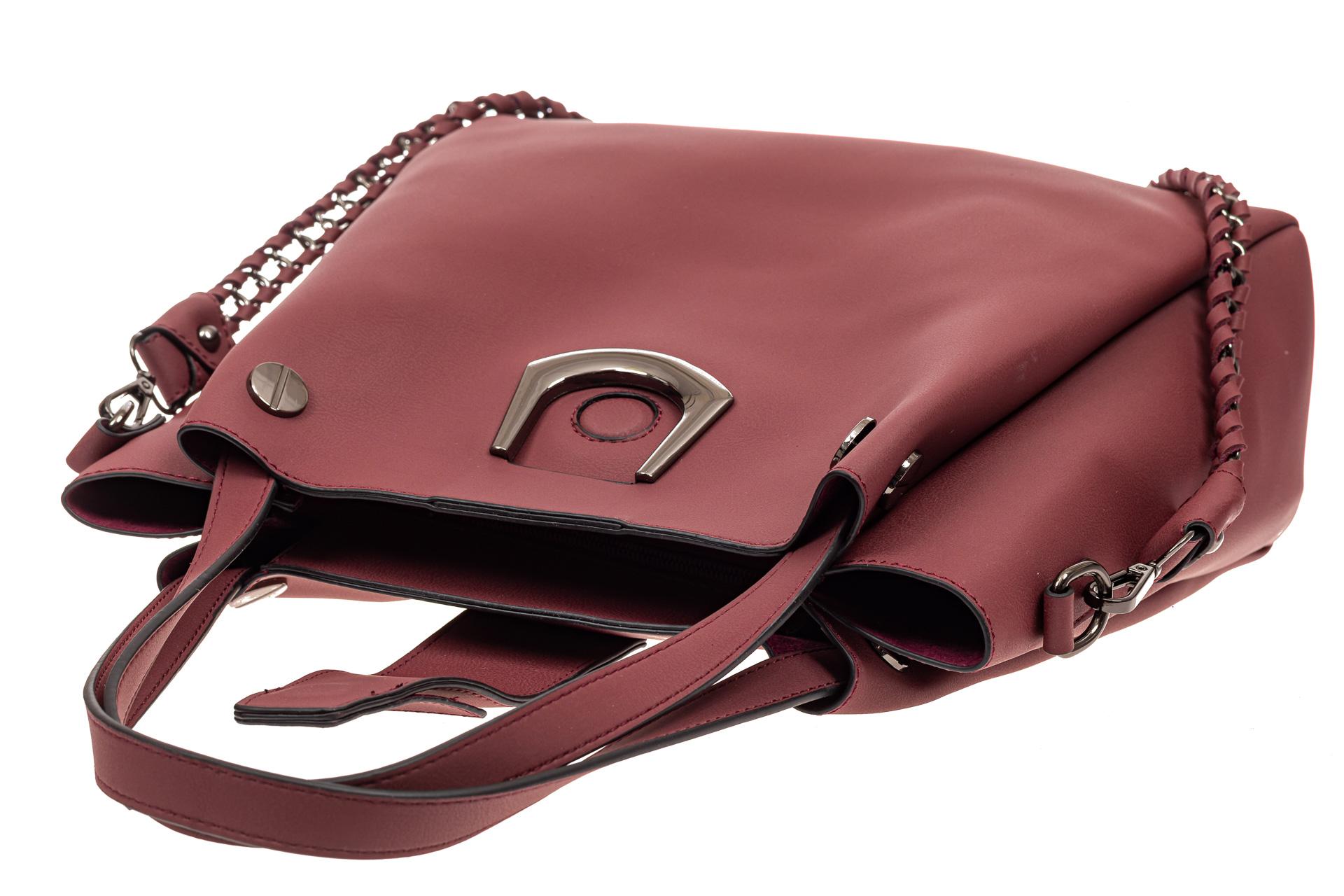 На фото 4 - Сумка-мешок женская из искусственной кожи, цвет бордо