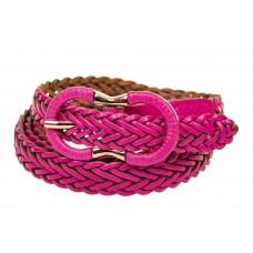 На фото 1 - Ремень кожаный женский плетеный, цвет розовый