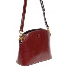 На фото 1 - Маленькая сумка-купол из искусственной кожи, цвет бордовый