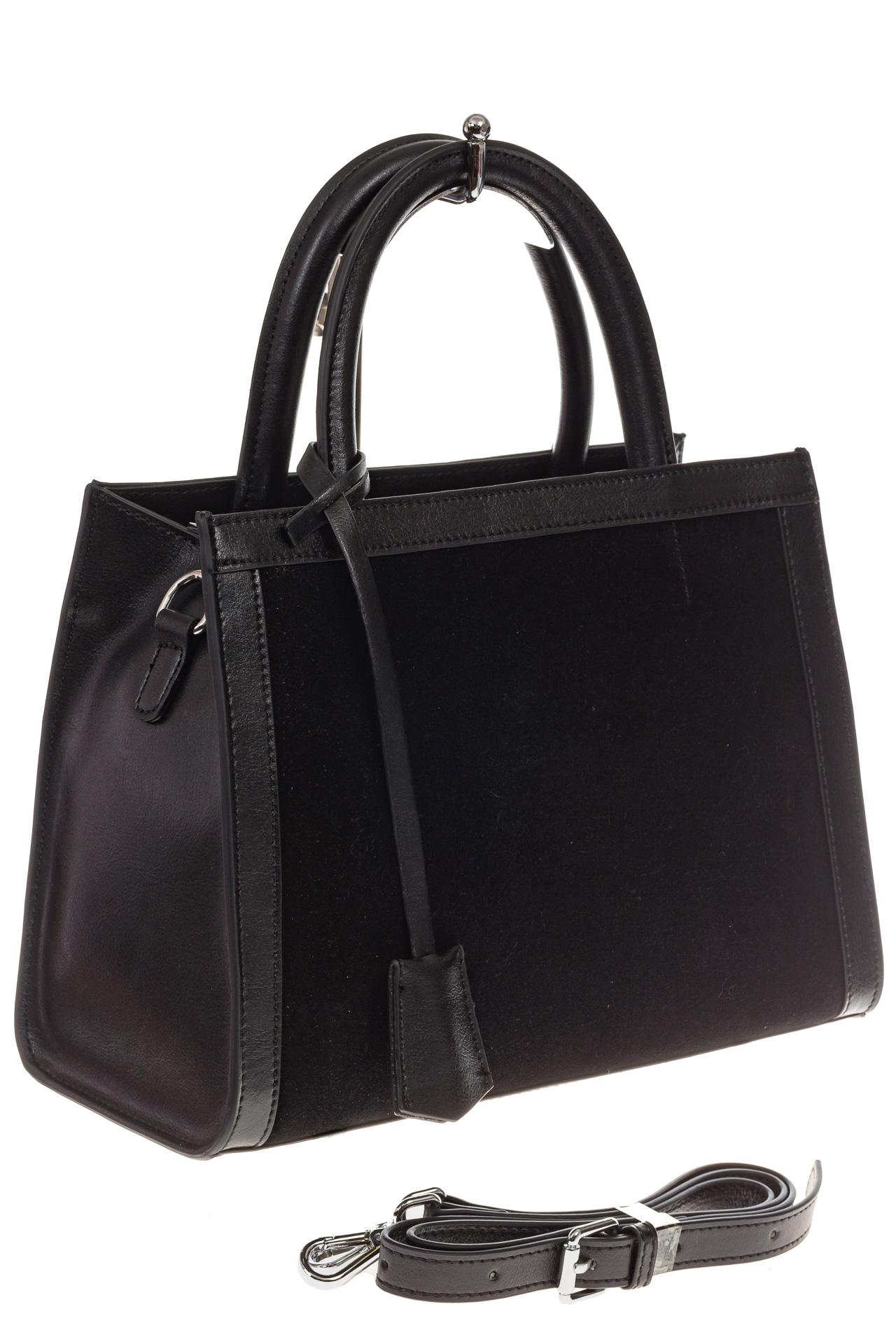 На фото 1 - Женская сумка из натуральной кожи и замши, цвет черный
