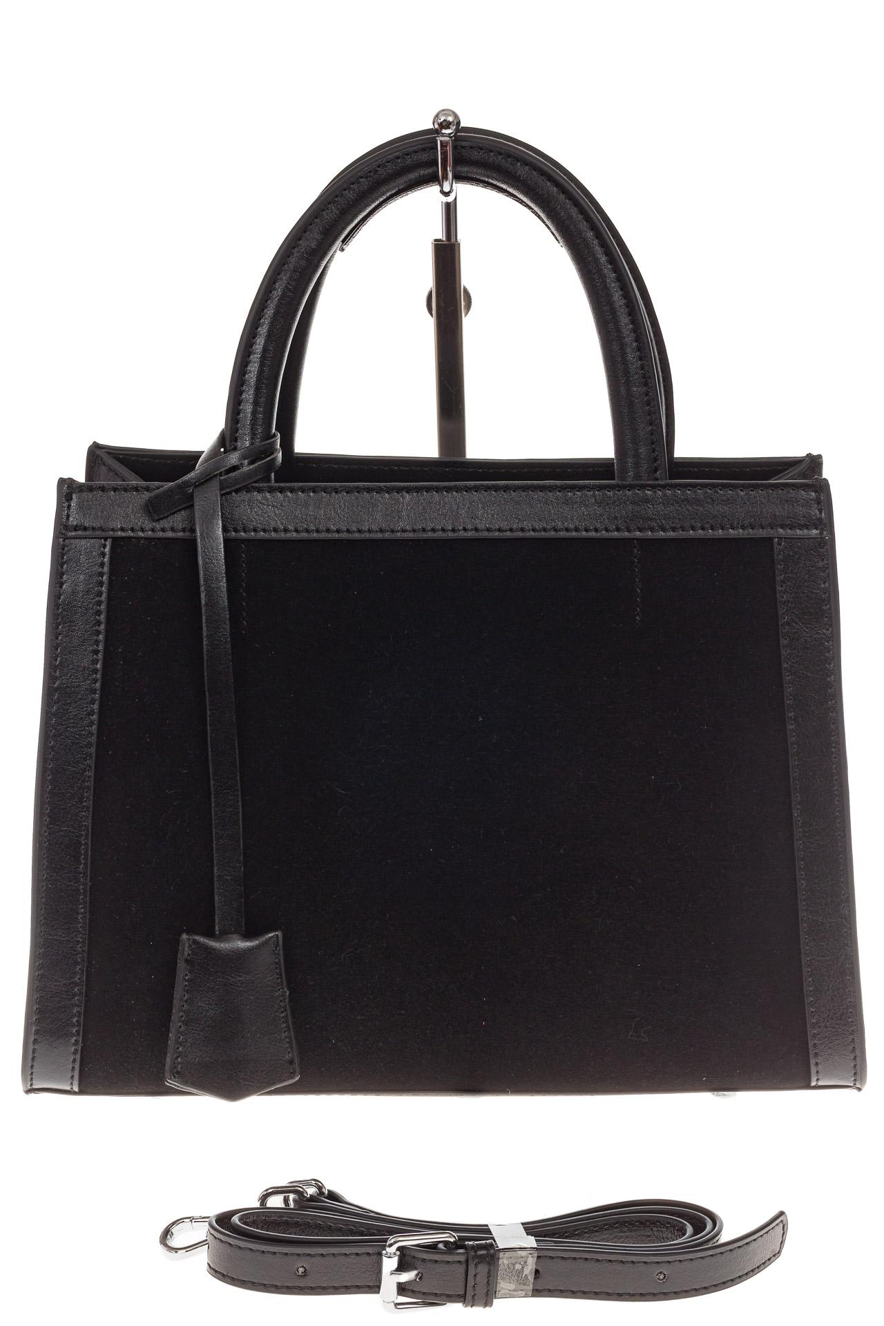 На фото 2 - Женская сумка из натуральной кожи и замши, цвет черный