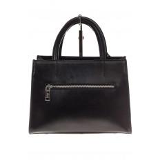 На фото 3 - Женская сумка из натуральной кожи и замши, цвет черный
