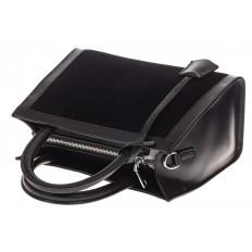 На фото 4 - Женская сумка из натуральной кожи и замши, цвет черный