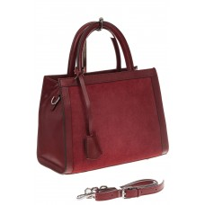 На фото 1 - Женская сумка из натуральной кожи и замши, цвет бордовый