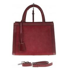 На фото 2 - Женская сумка из натуральной кожи и замши, цвет бордовый