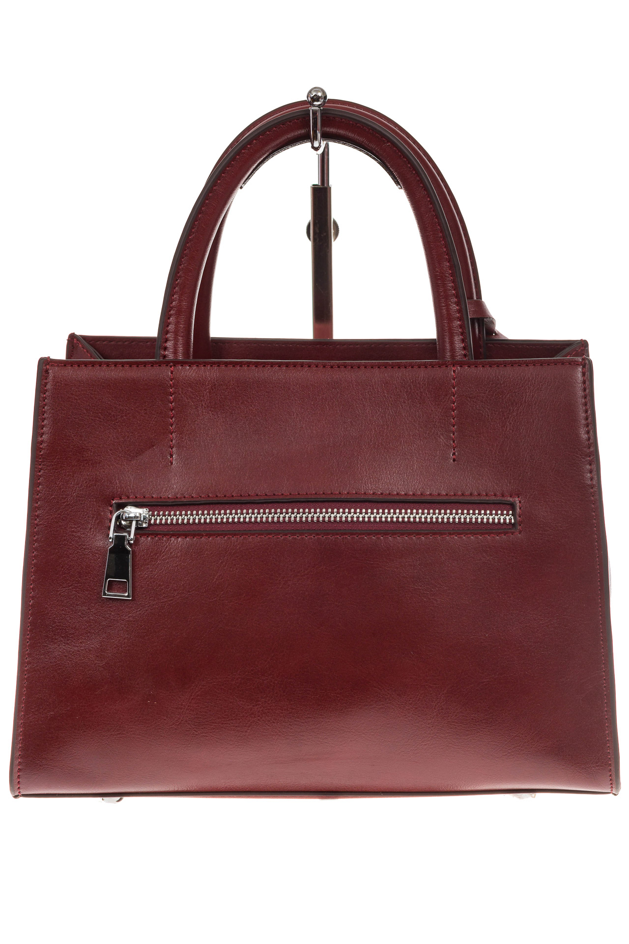 На фото 3 - Женская сумка из натуральной кожи и замши, цвет бордовый