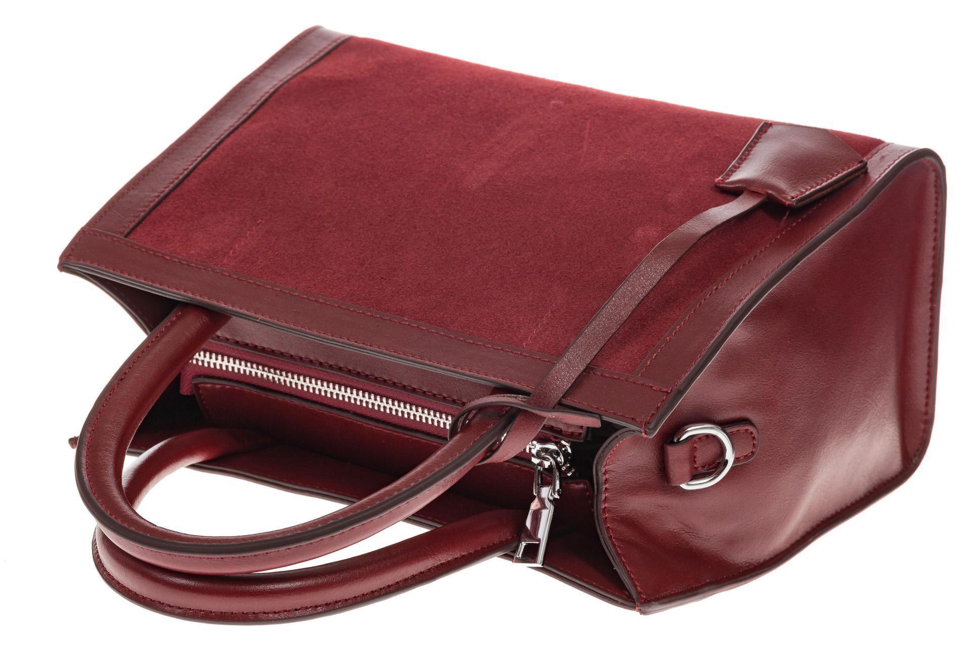 На фото 4 - Женская сумка из натуральной кожи и замши, цвет бордовый
