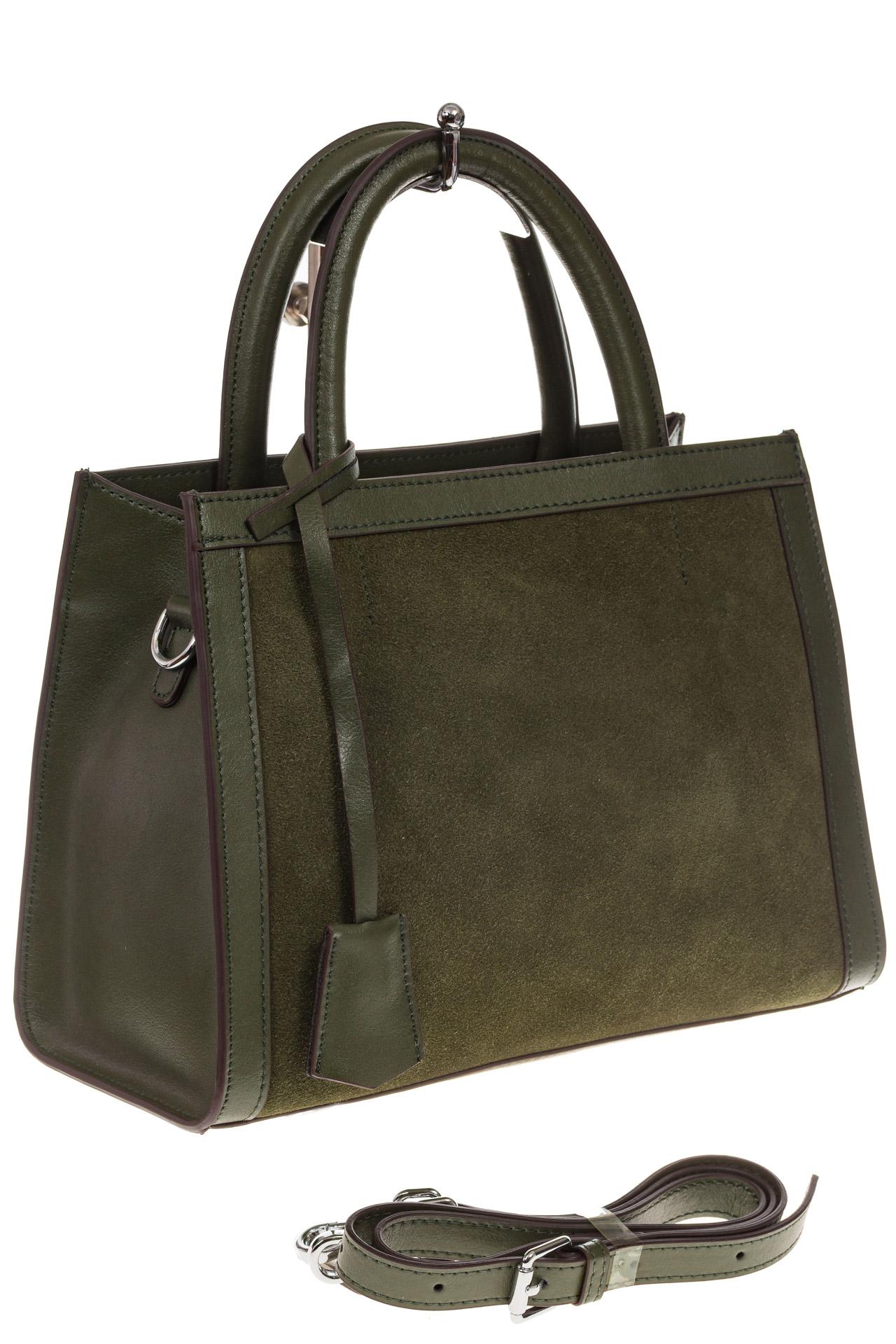 На фото 1 - Женская сумка из натуральной кожи и замши, цвет зеленый