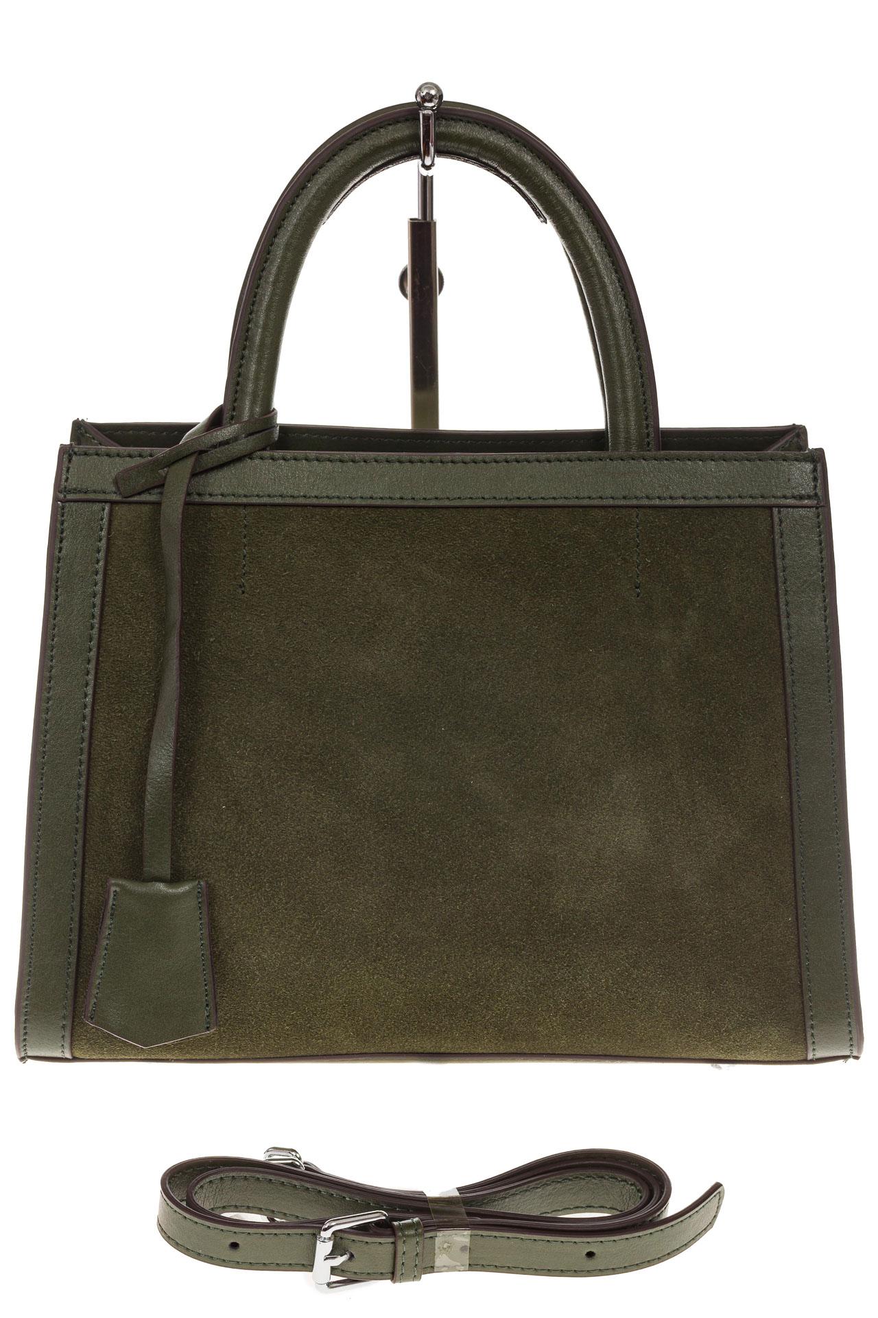 На фото 2 - Женская сумка из натуральной кожи и замши, цвет зеленый