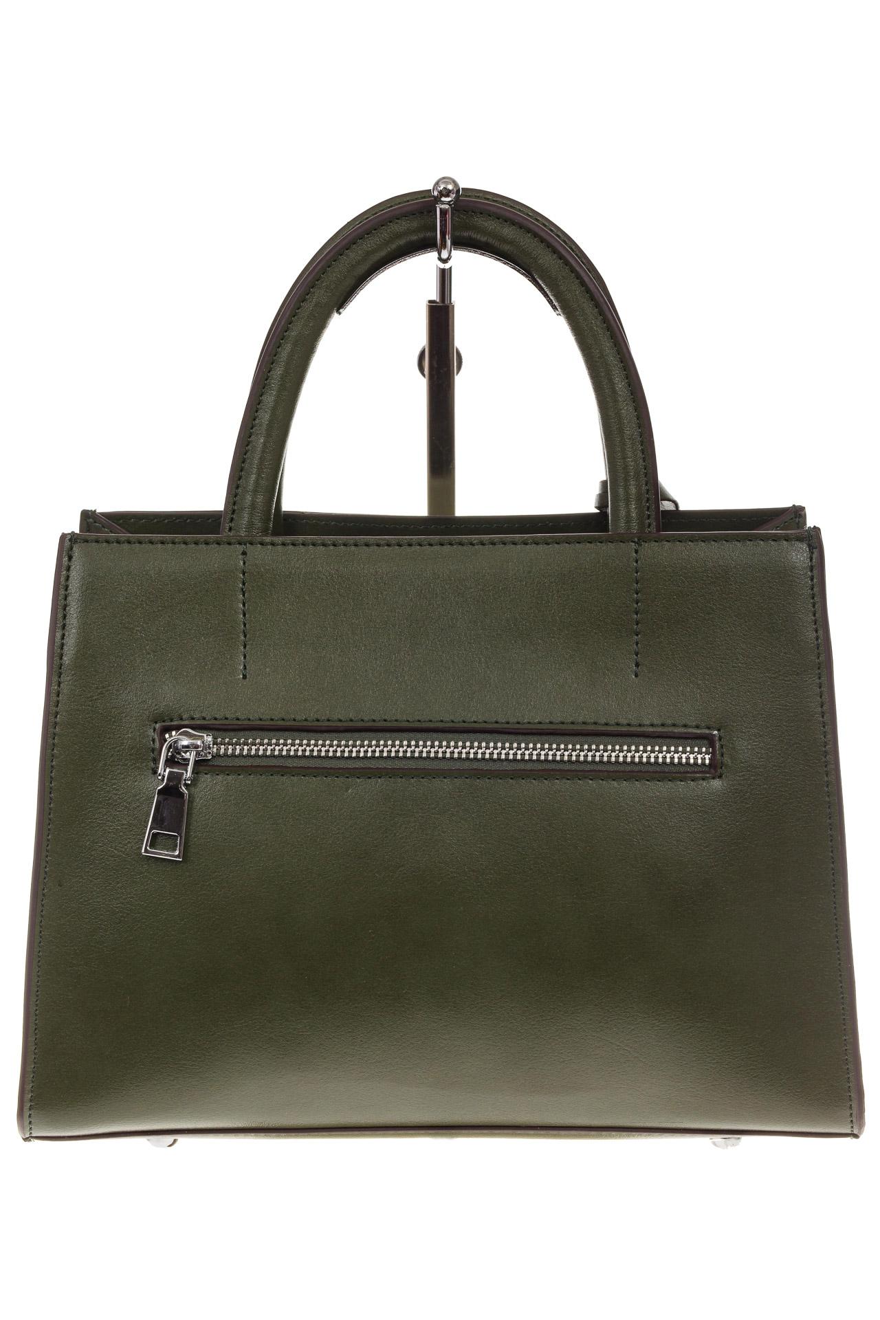 На фото 3 - Женская сумка из натуральной кожи и замши, цвет зеленый