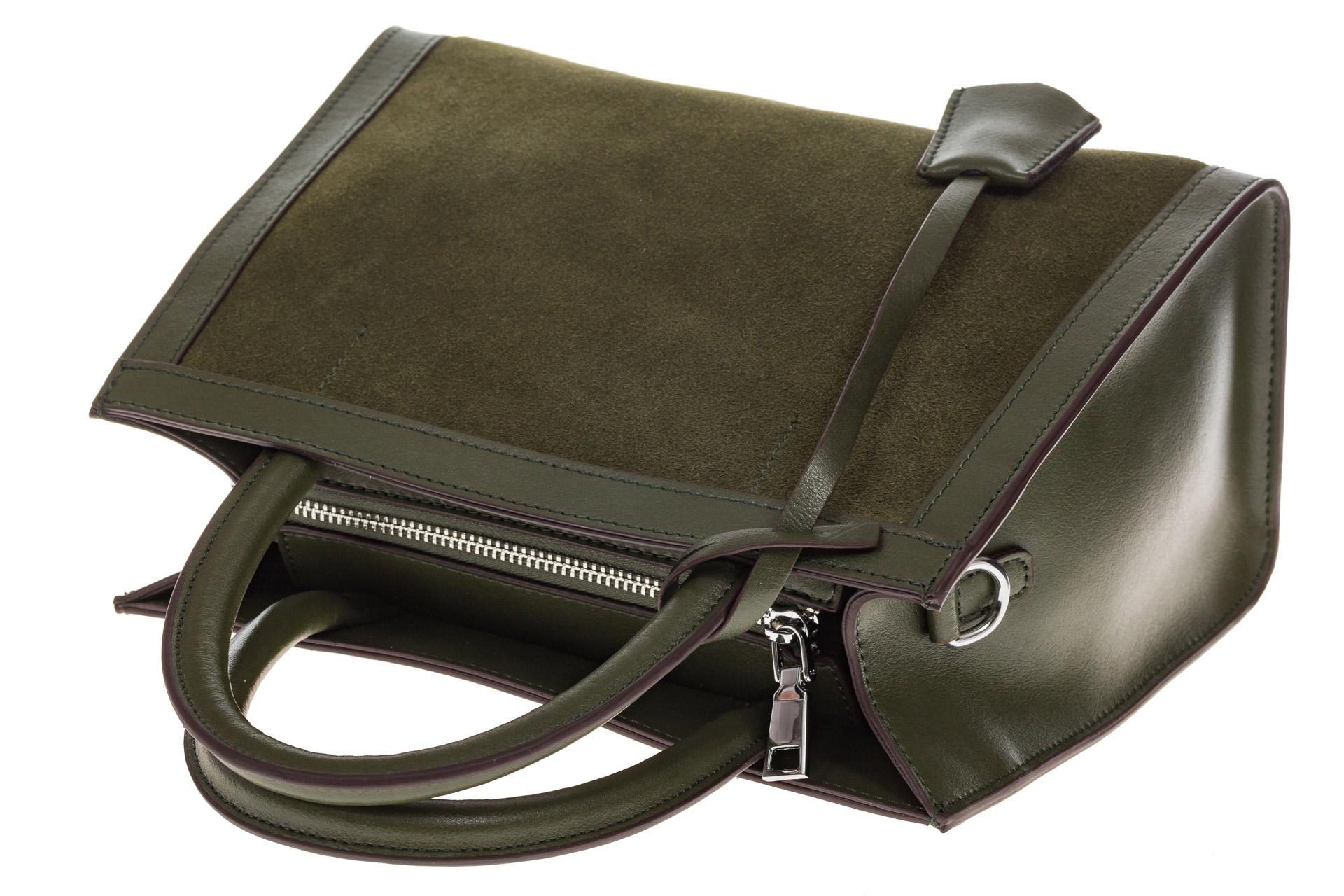 На фото 4 - Женская сумка из натуральной кожи и замши, цвет зеленый