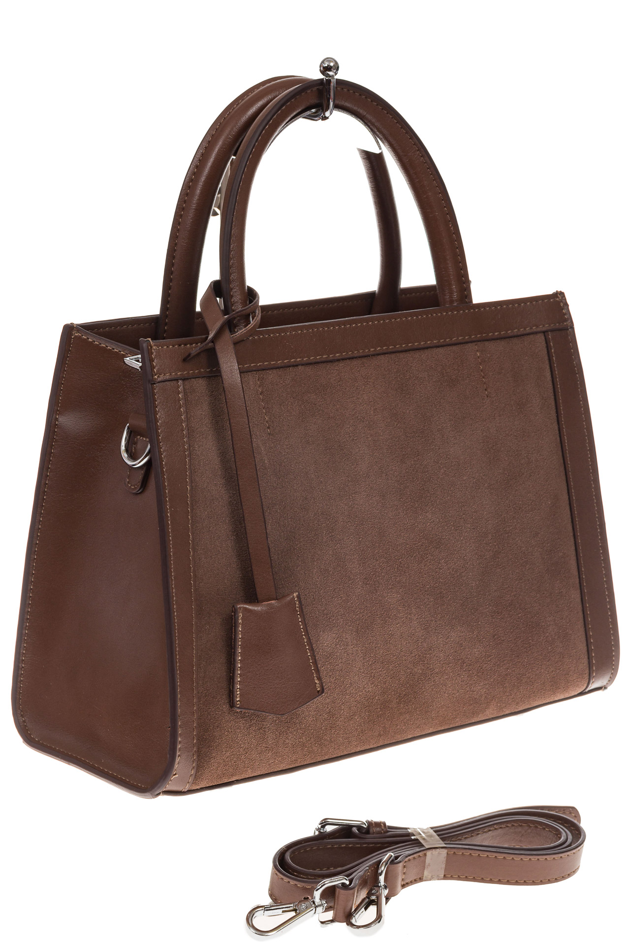a4503e59e941 На фото 1 - Женская сумка из натуральной кожи и замши, цвет коричневый
