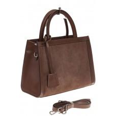 На фото 1 - Женская сумка из натуральной кожи и замши, цвет коричневый