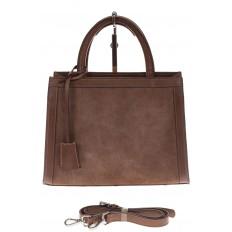 На фото 2 - Женская сумка из натуральной кожи и замши, цвет коричневый