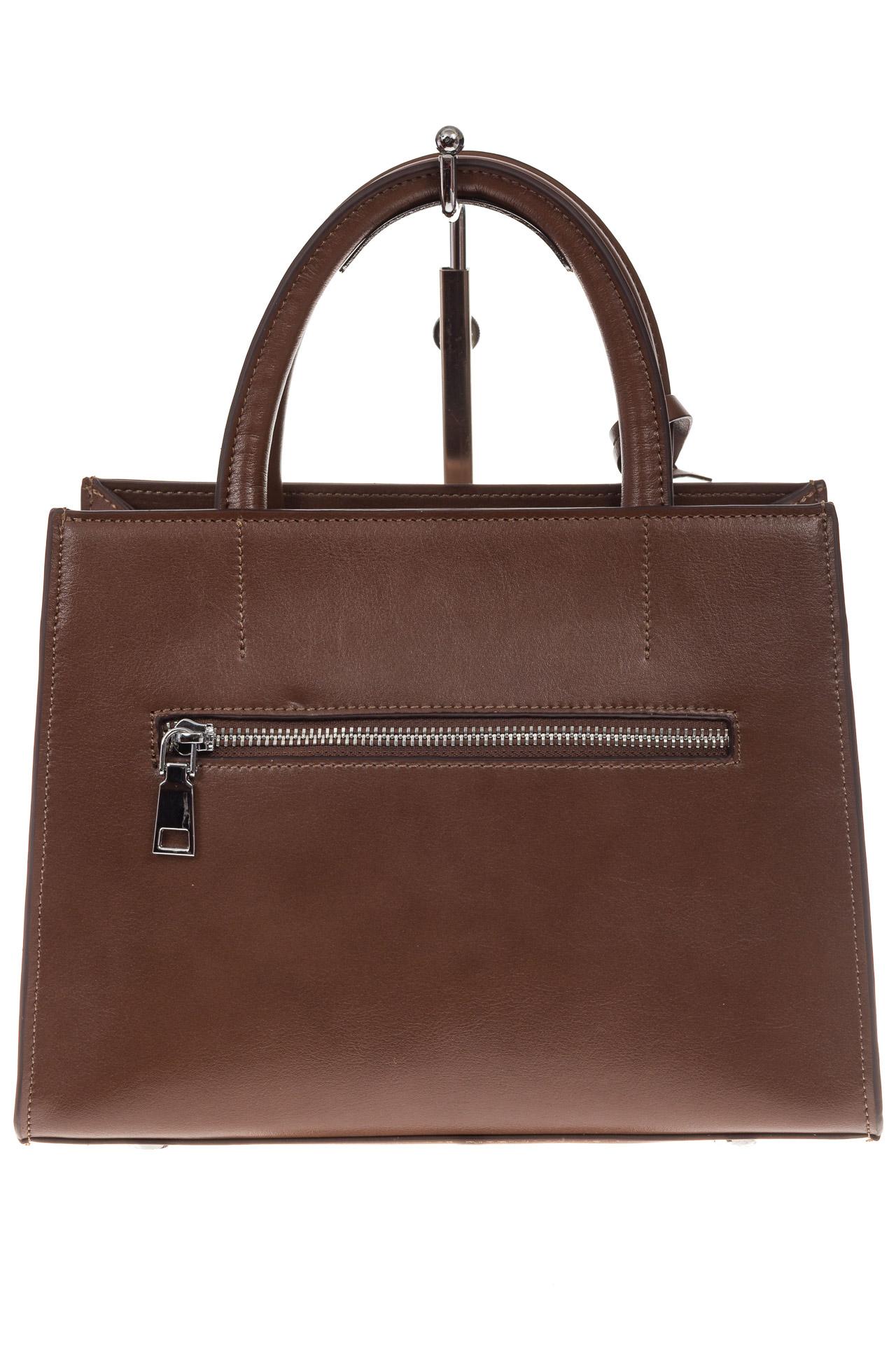 На фото 3 - Женская сумка из натуральной кожи и замши, цвет коричневый