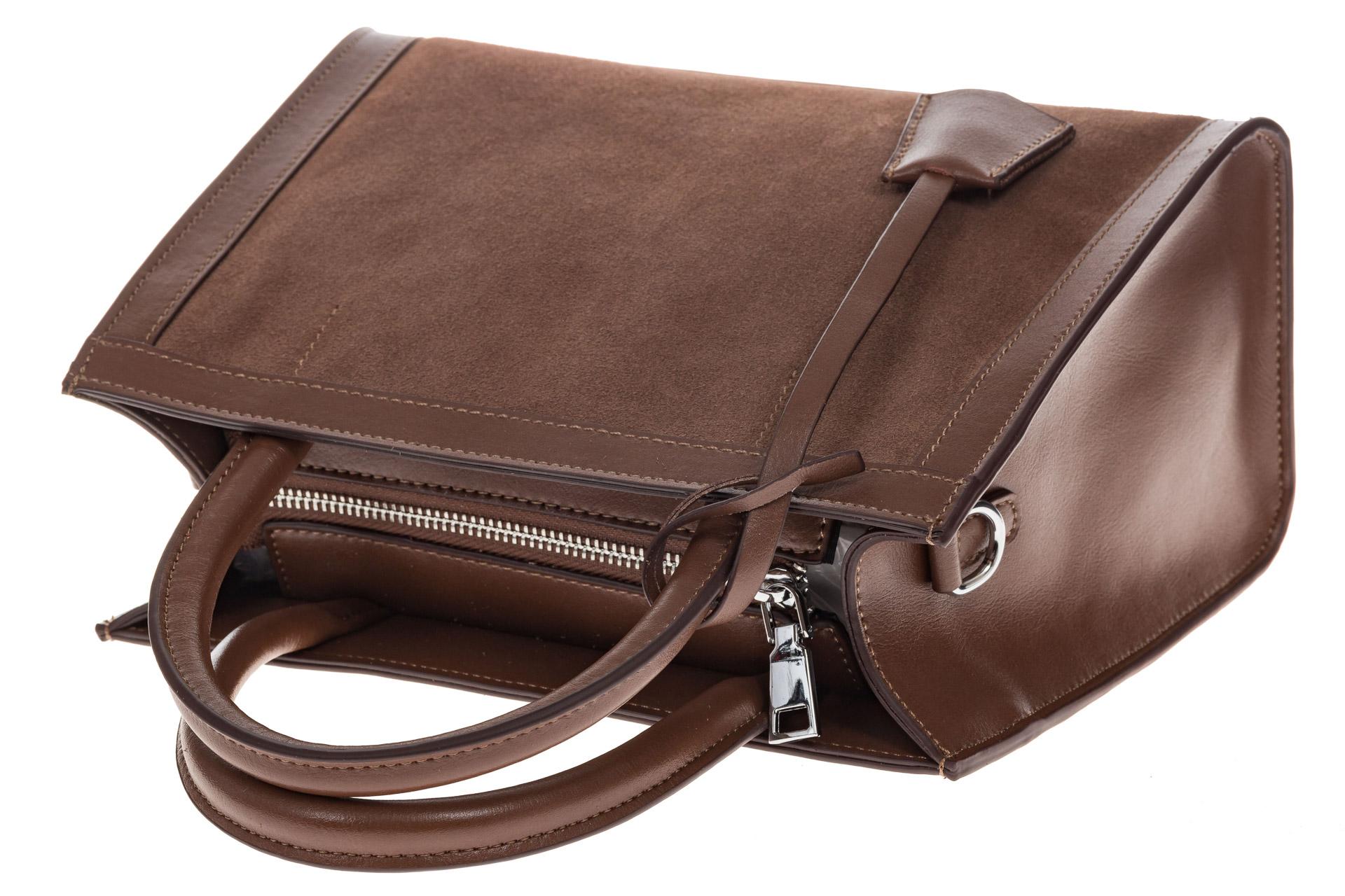 На фото 4 - Женская сумка из натуральной кожи и замши, цвет коричневый