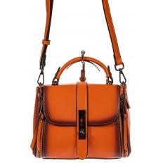 На фото 2 - Сумка кросс-боди из экокожи, цвет  оранжевый