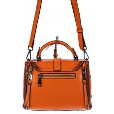 На фото 3 - Сумка кросс-боди из экокожи, цвет  оранжевый