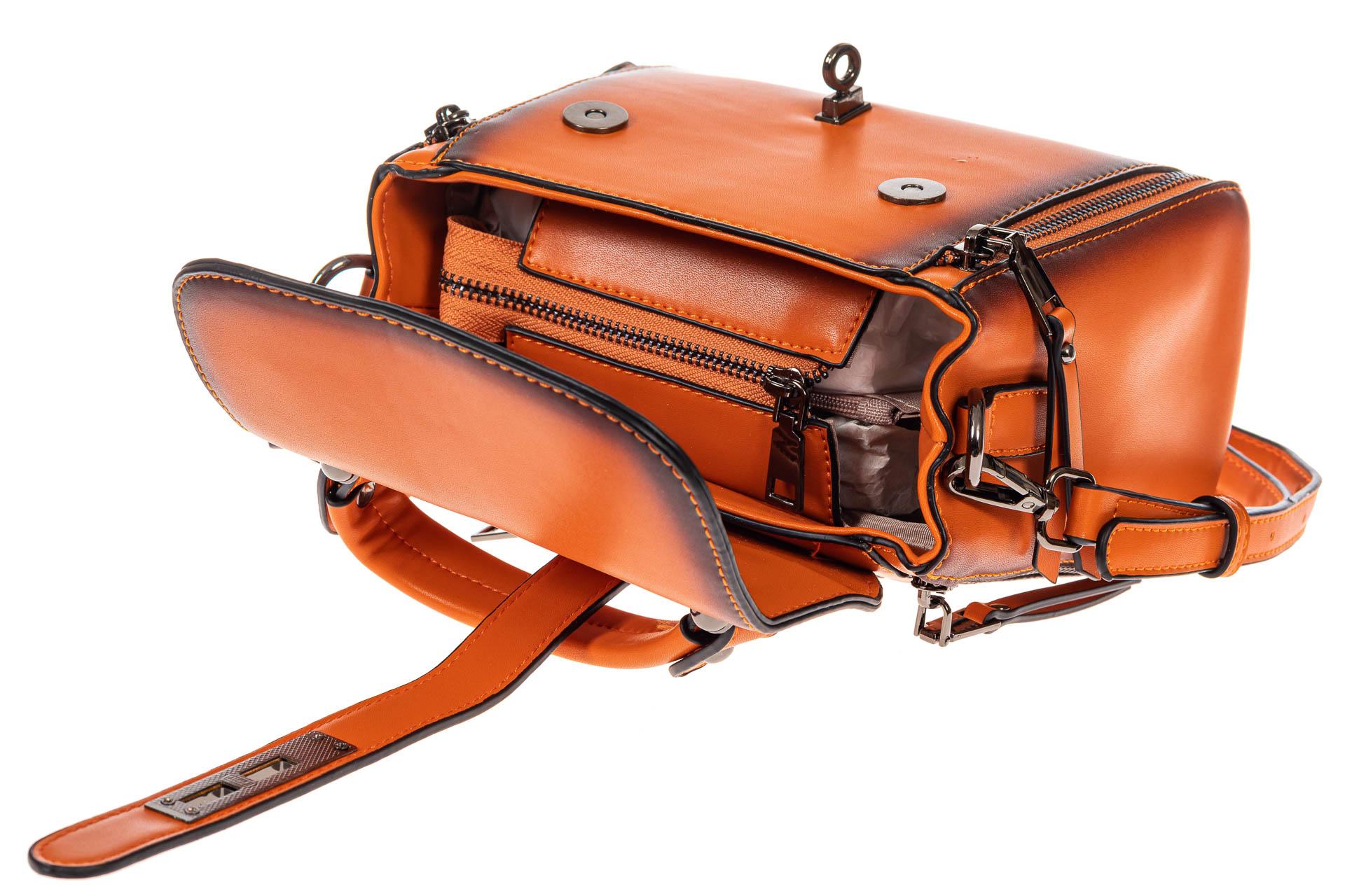 На фото 4 - Сумка кросс-боди из экокожи, цвет  оранжевый