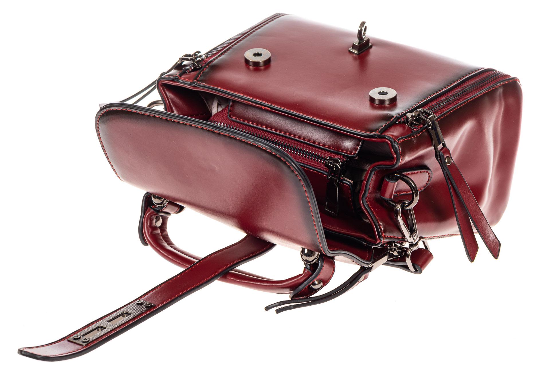 На фото 4 - Сумка кросс-боди из экокожи, цвет  бордо
