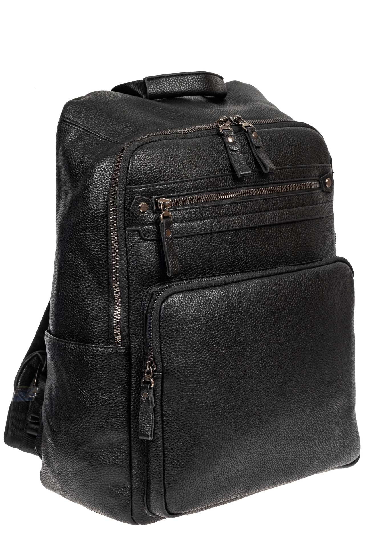 Рюкзак мужской из фактурной экокожи с карманом для ноутбука, цвет чёрный