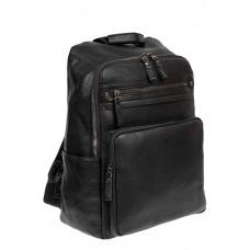 На фото 1 - Рюкзак мужской из фактурной экокожи с карманом для ноутбука, цвет чёрный