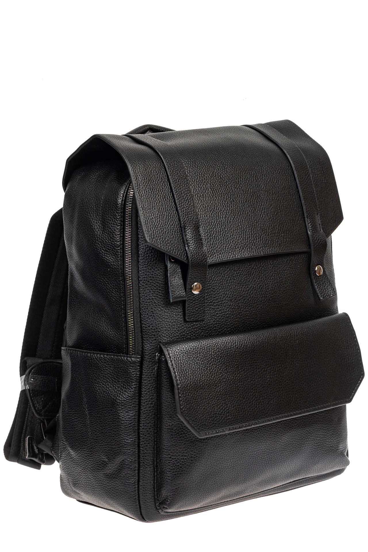 Рюкзак мужской из фактурной искусственной кожи с карманом для ноутбука, цвет чёрный